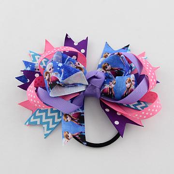 Girls' Hair Accessories Bowknot Elastic Hair Ties, with Printed Grosgrain Ribbon, Hot Pink, 46mm(OHAR-R216-02)