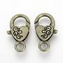 Bronze Antique Coeur Alliage Fermoirs(X-PALLOY-R070-11AB)