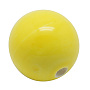 Handmade Porcelain Beads, Bright Glazed Style, Round, Yellow, 16mm, hole: 3mm