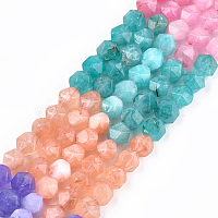 Chapelets de perles de jade blanche naturelle, teinte, facette, ronde, couleur mixte, 8x8x8mm, trou: 1mm; environ 47~50 pcs/chapelet, 14.5 pouces ~ 15.7 pouces