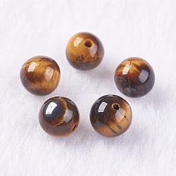Perles d'œil de tigre naturel, la moitié foré, rond, 6mm, Trou: 1mm(G-K275-17-6mm)