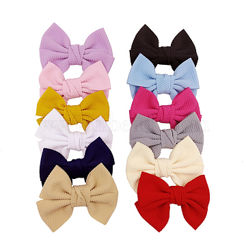 Cloth Alligator Hair Clips, with Iron Alligator Clips, Bowknot, Mixed Color, 110x80mm(OHAR-S197-057)