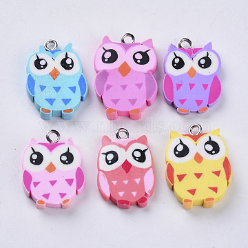 Handmade Polymer Clay Pendants, with Platinum Plated Iron Loops, Owl, Mixed Color, 22~25x15.5~18x3~4.5mm, Hole: 1.8mm(X-CLAY-S093-32)