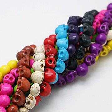 9mm Mixed Color Skull Howlite Beads