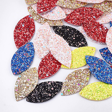 PU Leather Big Pendants, with Double-Sided Glitter Sequins/Paillette, Horse Eye, Mixed Color, 57.5x27x2mm, Hole: 2mm(X-FIND-Q081-01)