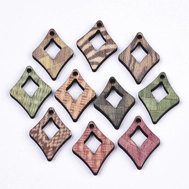 Mixed Color Rhombus Wood Pendants