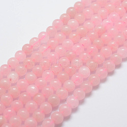 Natural Rose Quartz Bead Strands, Round, 6mm, Hole: 1mm; about 31pcs/strand, 7.4''(19cm)