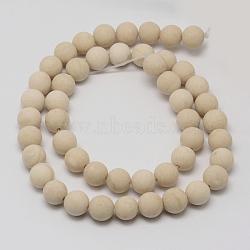 """Perles en fossile naturelle, mat, rond, 6mm, trou: 0.8mm; environ 60 pcs/chapelet, 14.1""""(G-D694-6mm)"""