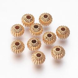Perles ondulées en laiton, rondelle, véritable 18k plaqué or, 6x5mm, Trou: 1mm(X-KK-S314-6mm-13G)