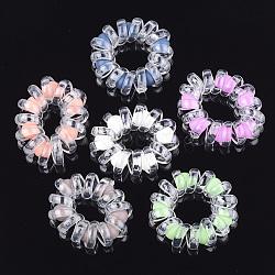 cordon téléphonique plastique liens de cheveux élastique, avec abs en plastique imitation perle, couleur mélangée, 14~19 mm(OHAR-T006-54)