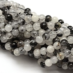 Natural Gemstone Black Rutilated Quartz Round Beads Strands, 4mm, Hole: 1mm; about 92pcs/strand, 15.5inches