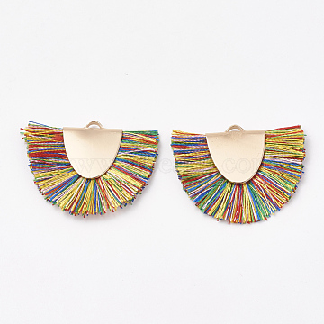 Polyester Tassel Pendant Decorations, with Brass Findings, Semicircle, Light Gold, Colorful, 25~27x32~35x3mm, Hole: 3x1.5mm(X-FIND-S272-12)