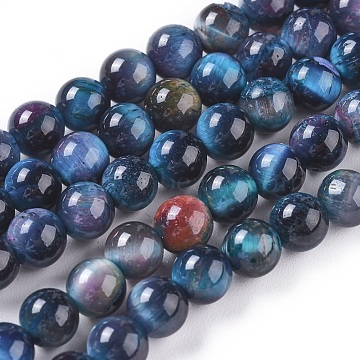 Natural Tiger Eye Beads Strands, Dyed & Heated, Round, MarineBlue, 6mm, Hole: 1mm; about 60pcs/strand, 14.3inches(36.5cm)(G-K301-6mm-06)