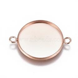 304 настройки разъема кабошона из нержавеющей стали, чашки безель с краем, плоские круглые, розовое золото, лоток: 22 мм; 31.2x23.8x2 мм, отверстия: 2.2 mm(STAS-G127-14-22mm-RG)