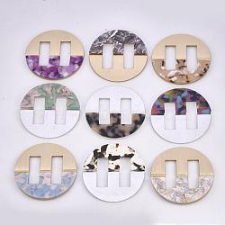 Boucles en aluminium et acétate de cellulose (résine), plat rond, couleur mixte, 61x4.5~5mm, Trou: 31x11mm(ALUM-S016-15)