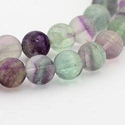 """Rainbow fluorite naturelle rondes chapelets de perles, 10mm, trou: 1mm; environ 40 pcs/chapelet, 15.7""""(G-P070-31-10mm)"""