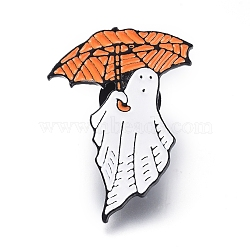 Alloy Brooches, Enamel Pin, with Plastic Findings,  Ghost with Umbrella, for Halloween, Colorful, 35x24x1.5mm, Pin: 1mm(JEWB-L011-015B)
