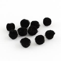 Poupée bricolage artisanat pom pom boules de pom pom, noir, 10 mm; environ 2000 PCs / sac(AJEW-S006-10mm-09)