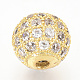 Brass Micro Pave Cubic Zirconia Beads(ZIRC-Q013-6mm-142G)-1