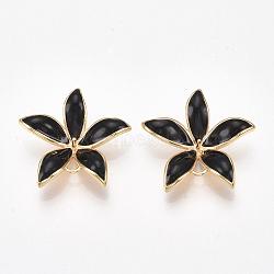 liens en laiton piquets, pour perle à moitié percée, avec l'émail, fleur, véritable plaqué or, noir, 23x24x5~6 mm, trou: 1~2 mm; broches: 0.8 mm(KK-S350-387A-G)
