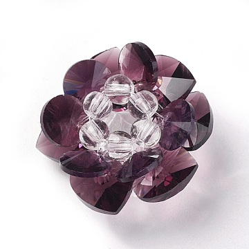 Glass Woven Beads, Cluster Beads, Lotus, Purple, 25~28x14mm, Hole: 5mm(GLAA-F088-B15)