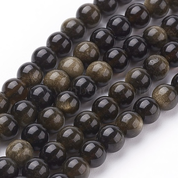Natural Golden Sheen Obsidian Beads Strands, Round, 6mm, Hole: 1mm, 31pcs/strand, 8 inches(X-G-C076-6mm-5)