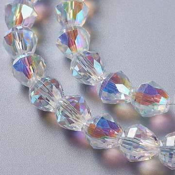 Glass Imitation Austrian Crystal Beads, Faceted Bicone, Clear AB, 10x10mm, Hole: 1.4mm(GLAA-F108-07C)