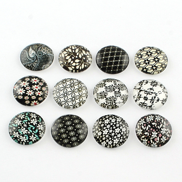 Half Round/Dome Floral Photo Glass Flatback Cabochons for DIY Projects, Mixed Color, 12x4mm(X-GGLA-Q037-12mm-01)
