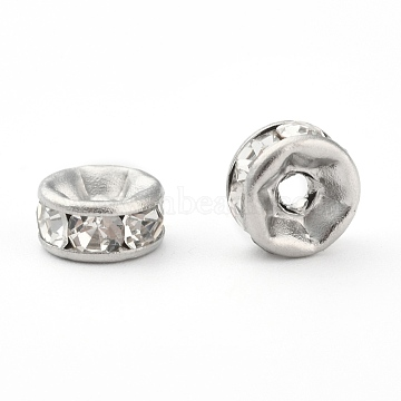316 Surgical Stainless Steel Spacer Beads, with Rhinestone, Rondelle, Stainless Steel Color, 6x3mm, Hole: 1mm(X-STAS-N032-06P)