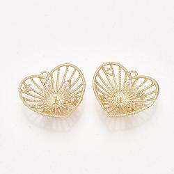 pendentifs en forme de zircon cubique en laiton, pour perle à moitié percée, cœur, effacer, véritable plaqué or, 19x20x5 mm, trou: 1.2 mm; broches: 1 mm(KK-S350-334)