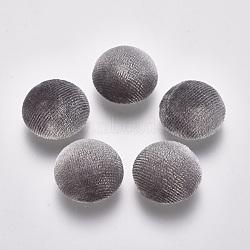 Cabochons couverts de pleuche, avec fond en aluminium, demi-rond, platine, grises , 20x9.5~10mm(KK-XCP0001-05)
