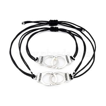 Adjustable Nylon Cord Braided Bracelets Sets, Friendship Bracelets, with Antique Silver Plated Alloy Links, Handcuff with Word Freedom, Black, Inner Diameter: 1.5~8.8cm(5/8~3-1/2 inches); 2pcs/set(BJEW-JB05388)