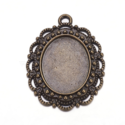 Support de cabochon de pendentif en alliage métallique, support pour cabochon, sans plomb et sans nickel, fleur, bronze antique, plateau ovale: 14x18 mm; 31x23x3 mm, Trou: 2.5mm(X-PALLOY-A16474-AB)