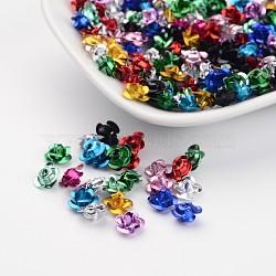Mixte couleur aluminium fleur rose minuscule de perles de métal, environ 6 mm de large, hauteur de 4.5 mm , Trou: 1mm(X-AF6MM00MY)