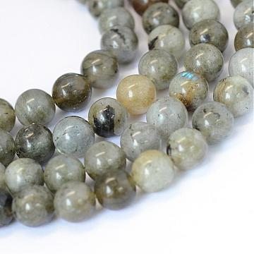 Natural Labradorite Round Bead Strands, 4~4.5mm, Hole: 1mm; about 96pcs/strand, 15.5inches(G-E334-4mm-19)