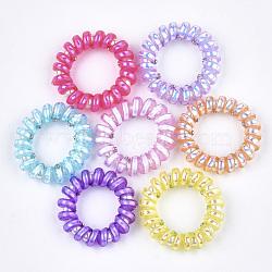 cordon téléphonique plastique liens de cheveux élastique, avec abs en plastique imitation perle, couleur mélangée, 21~26 mm(OHAR-T006-04)
