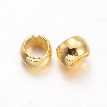 Rondelle Brass Crimp Beads, Golden, 2.5x1.5mm, Hole: 1mm, about 1000pcs/20g(X-KK-L134-32G)