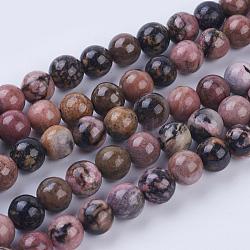 Chapelets de perles en rhodonite naturelle, rond, 8~8.5mm, trou: 1mm; environ 49 pcs/chapelet, 15.3'' (39 cm)(G-P318-04-8mm)