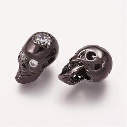 Латунные микро проложить кубического циркония бусы, череп, металлический черный , 14x8x9.5 мм, отверстие : 2 мм(ZIRC-E113-27B)