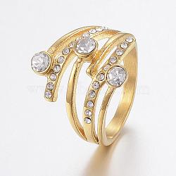 Bagues en 304 acier inoxydable avec strass, anneaux large bande, or, taille 7, 17mm(RJEW-H125-51G-17mm)
