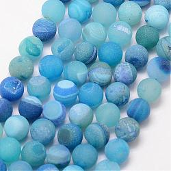Natural Druzy Geode Agate Bead Strands, Frosted, Round, Dyed & Heated, Grade A, DeepSkyBlue, 12mm, Hole: 1mm; about 32pcs/strand, 15inches