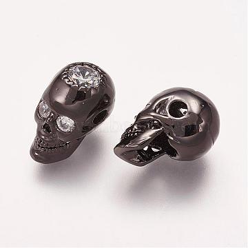 Brass Micro Pave Cubic Zirconia Beads, Skull, Gunmetal, 14x8x9.5mm, Hole: 2mm(ZIRC-E113-27B)