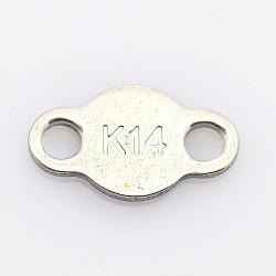 Onglets de chaîne en 304 acier inoxydable, connecteurs d'extension de chaîne, couleur inoxydable, 6x10x1mm, Trou: 2mm(STAS-P073-01)