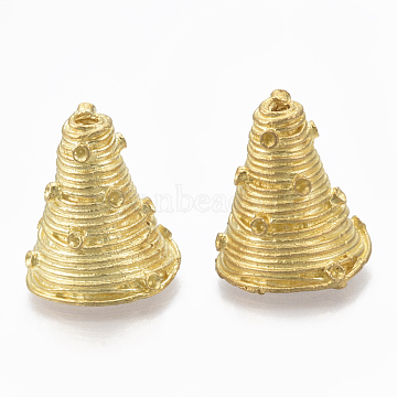 Brass Bead Cone Rhinestone Settings, Nickel Free, Raw(Unplated), Fit for 1mm Rhinestone; 18x16mm, Hole: 2mm(KK-T040-171-NF)