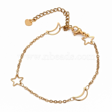304 Stainless Steel Cable Chain Anklets, with  Moon & Star Link and Lobster Claw Clasps, Golden, 8-7/8 inches(22.5cm)(X-AJEW-H104-05G)