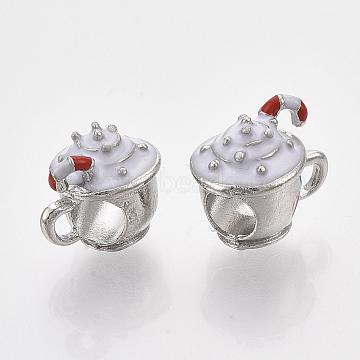 Alloy European Beads, with White Enamel, Large Hole Beads, Ice Cream, Platinum, 11x12x9.5mm, Hole: 4.5mm(X-MPDL-S067-41)