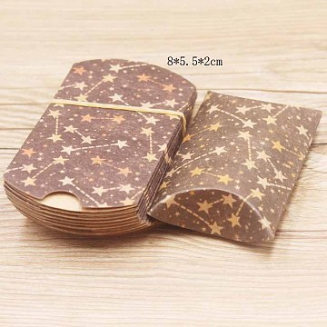Paper Pillow Gift Boxes, Packaging Boxes, Party Favor Sweet Candy Box, Star Pattern, Camel, 9.9x5.5x0.1cm, Finished Product: 8x5.5x2cm(X-CON-J002-S-09A)