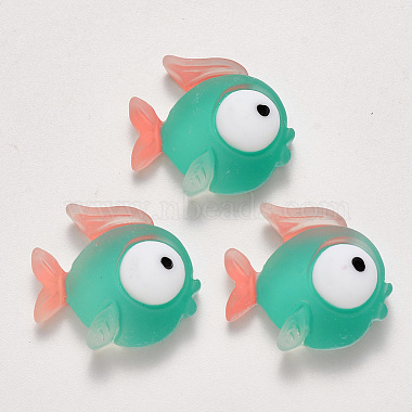 21mm LightSeaGreen Fish Resin Cabochons