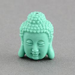 Perles de corail synthétiques, tête de bouddha, aigue-marine, 28x20x11.5mm, Trou: 2mm(X-CORA-S003-28mm-02)