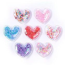 Pinces à cheveux en alligator en plastique, avec paillette et socle en fer platiné, cœur, couleur mixte, 43x48x12~13mm(PHAR-L005-J)